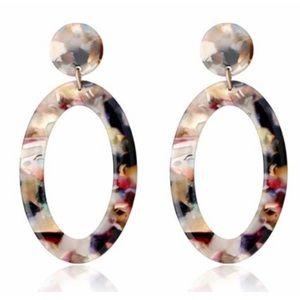 Jewelry - Multi-colored Acrylic Circle Oval Drop Earrings